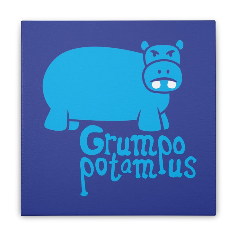 Grumpopotamus Home Stretched Canvas by Robyriker Designs - Elishka Jepson