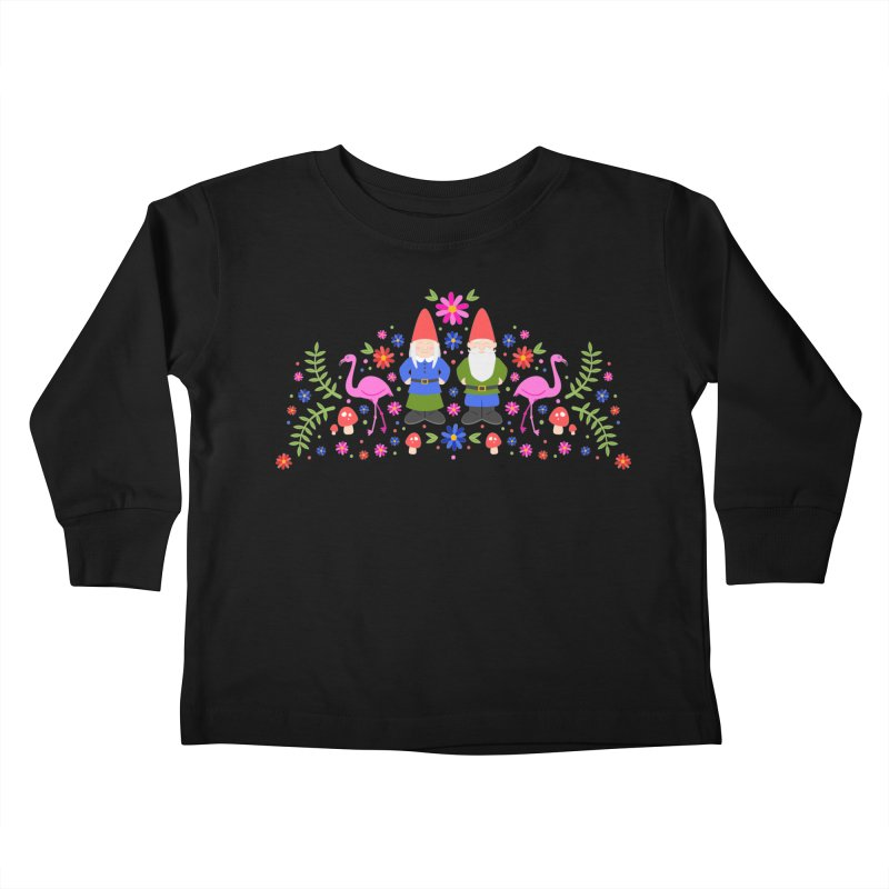 Gnome Garden Kids Toddler Longsleeve T-Shirt by Robyriker Designs - Elishka Jepson