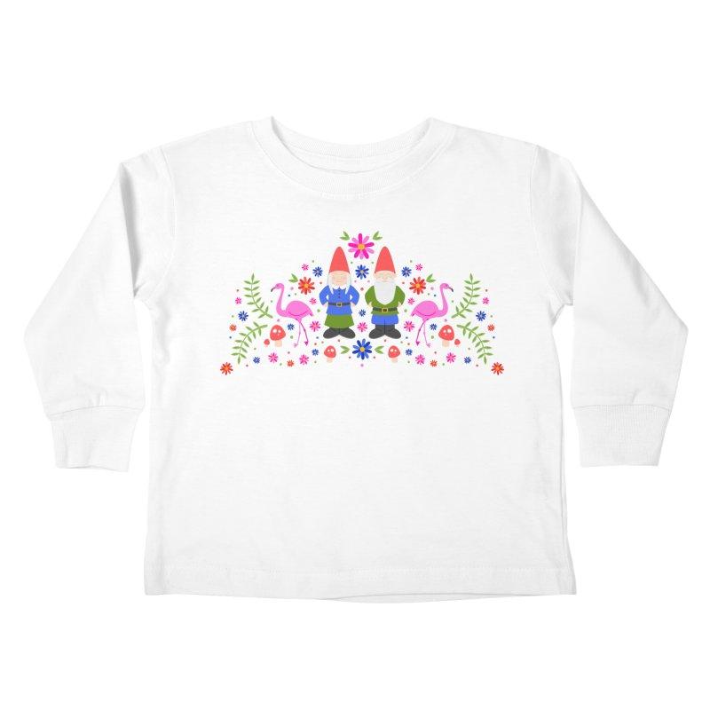 Gnome Garden Kids Toddler Longsleeve T-Shirt by Robyriker Designs - Elishka Jepson