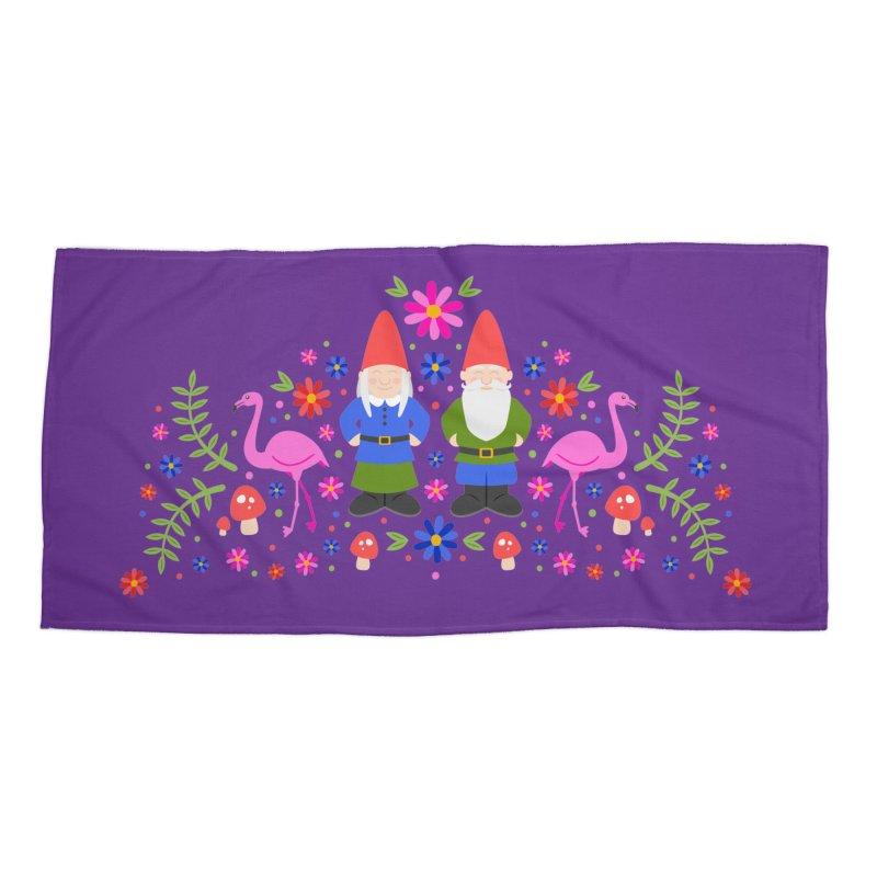 Gnome Garden Accessories Beach Towel by Robyriker Designs - Elishka Jepson