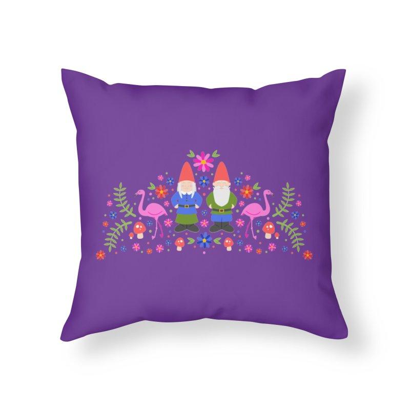 Gnome Garden Home Throw Pillow by Robyriker Designs - Elishka Jepson