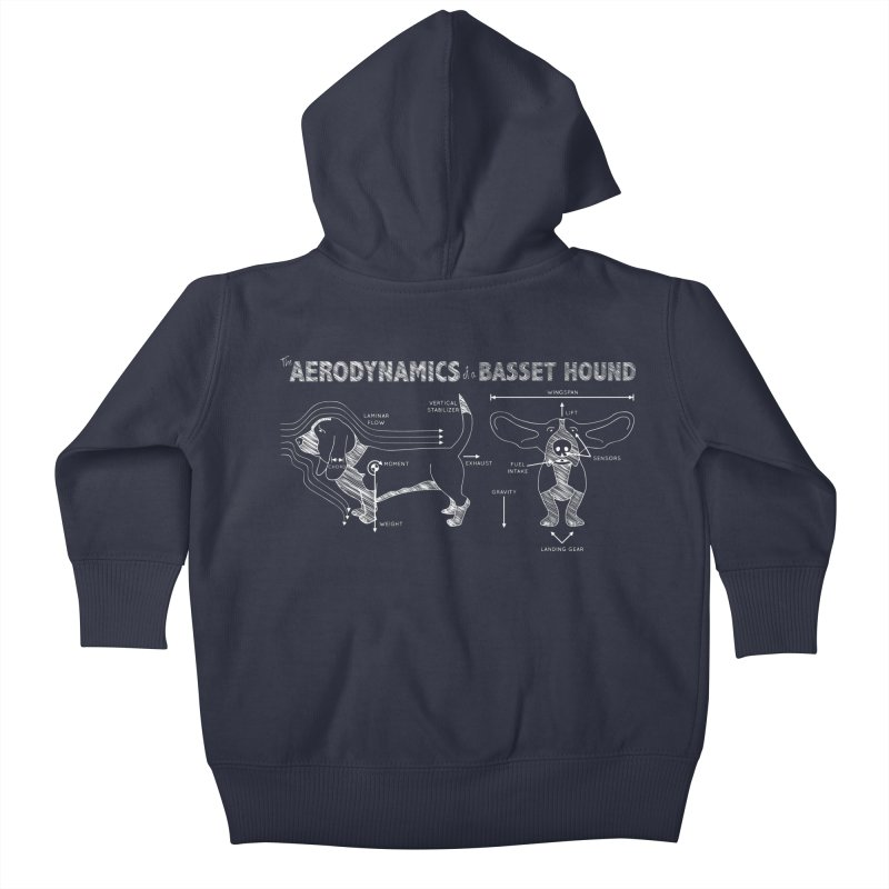 The Aerodynamics of a Basset Hound Kids Baby Zip-Up Hoody by Robyriker Designs - Elishka Jepson