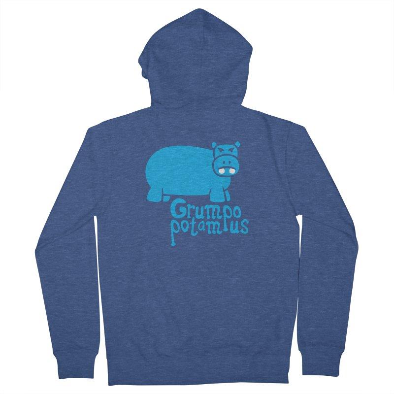 Grumpopotamus Men's Zip-Up Hoody by Robyriker Designs - Elishka Jepson