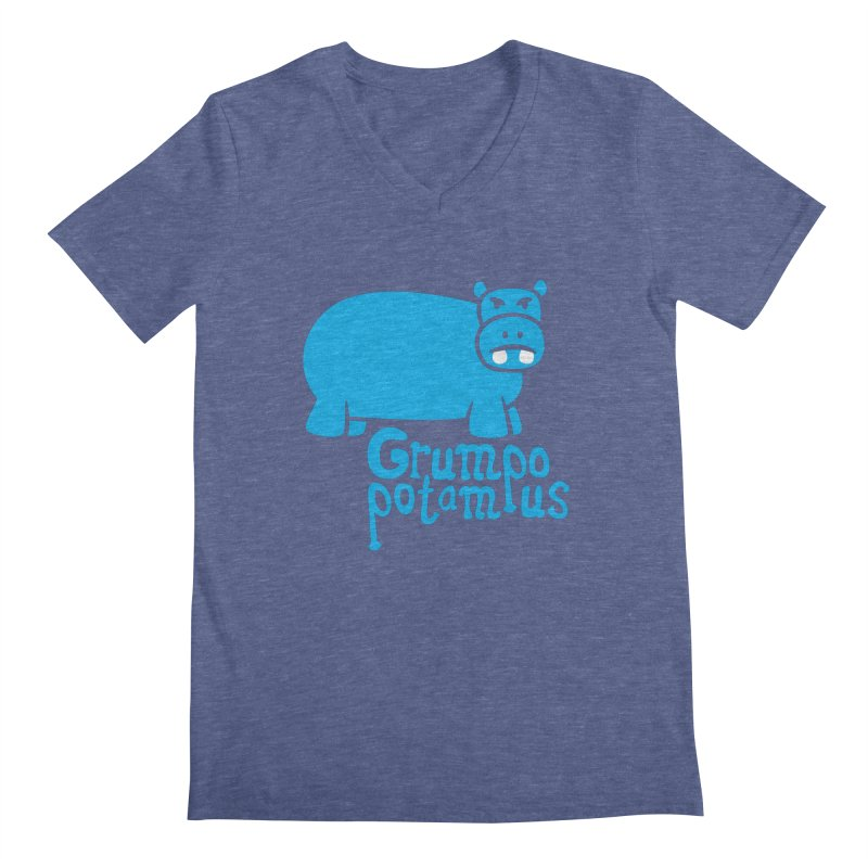Grumpopotamus Men's V-Neck by Robyriker Designs - Elishka Jepson