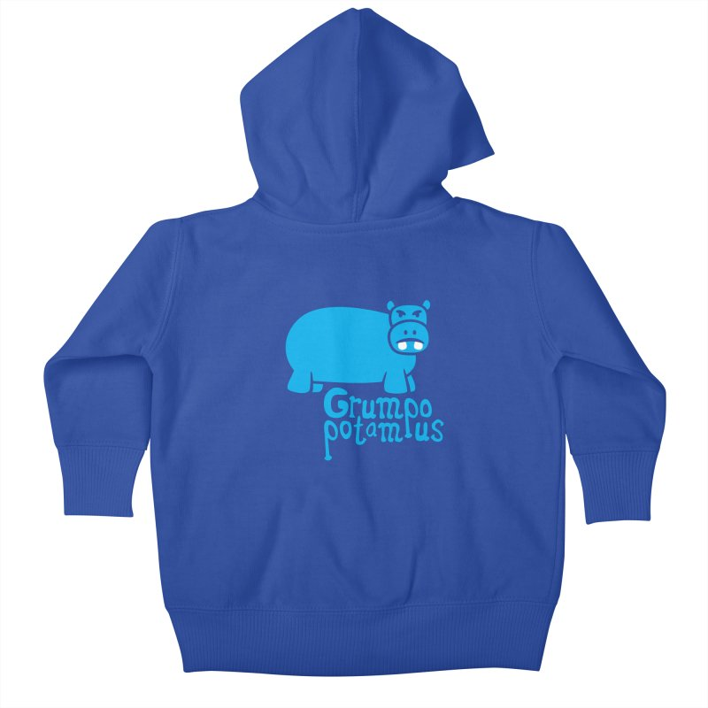 Grumpopotamus Kids Baby Zip-Up Hoody by Robyriker Designs - Elishka Jepson