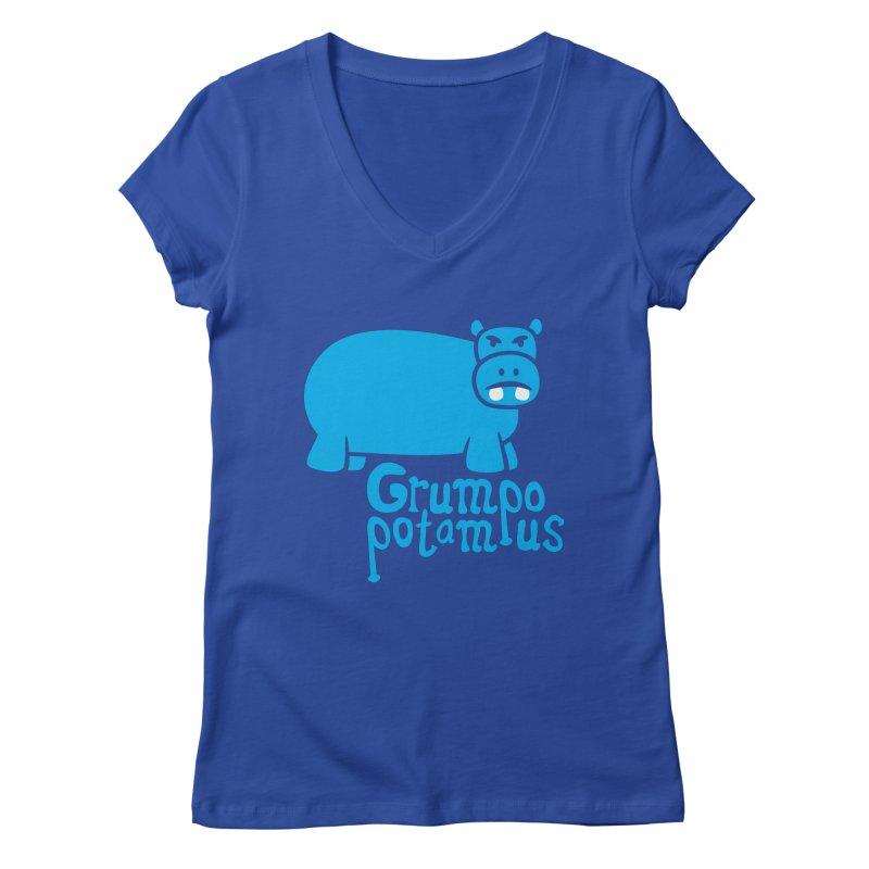Grumpopotamus Women's V-Neck by Robyriker Designs - Elishka Jepson