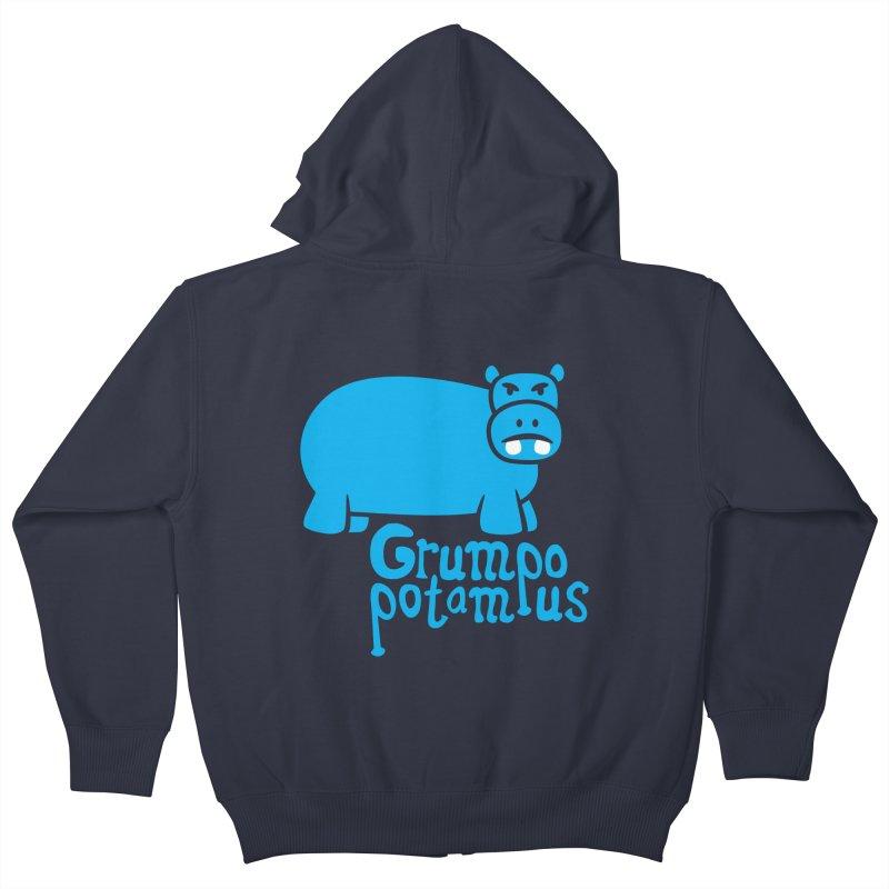 Grumpopotamus Kids Zip-Up Hoody by Robyriker Designs - Elishka Jepson