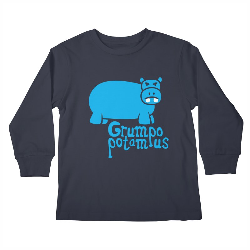 Grumpopotamus Kids Longsleeve T-Shirt by Robyriker Designs - Elishka Jepson