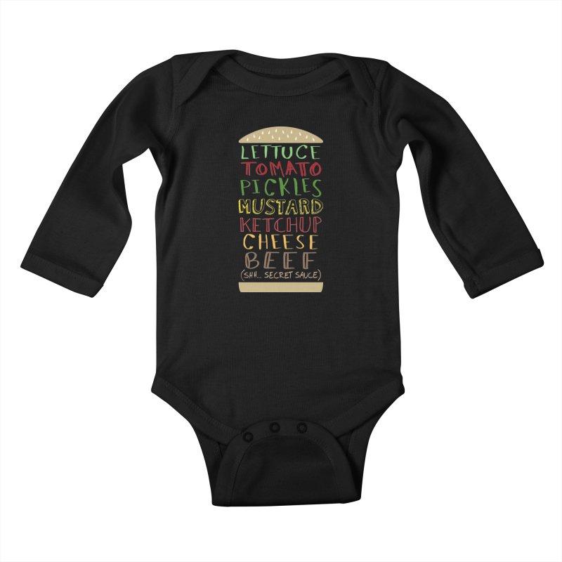 Don't Forget the Secret Sauce Kids Baby Longsleeve Bodysuit by Robyriker Designs - Elishka Jepson