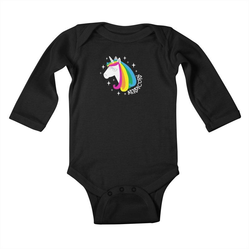 Nerdicorn Kids Baby Longsleeve Bodysuit by Robyriker Designs - Elishka Jepson
