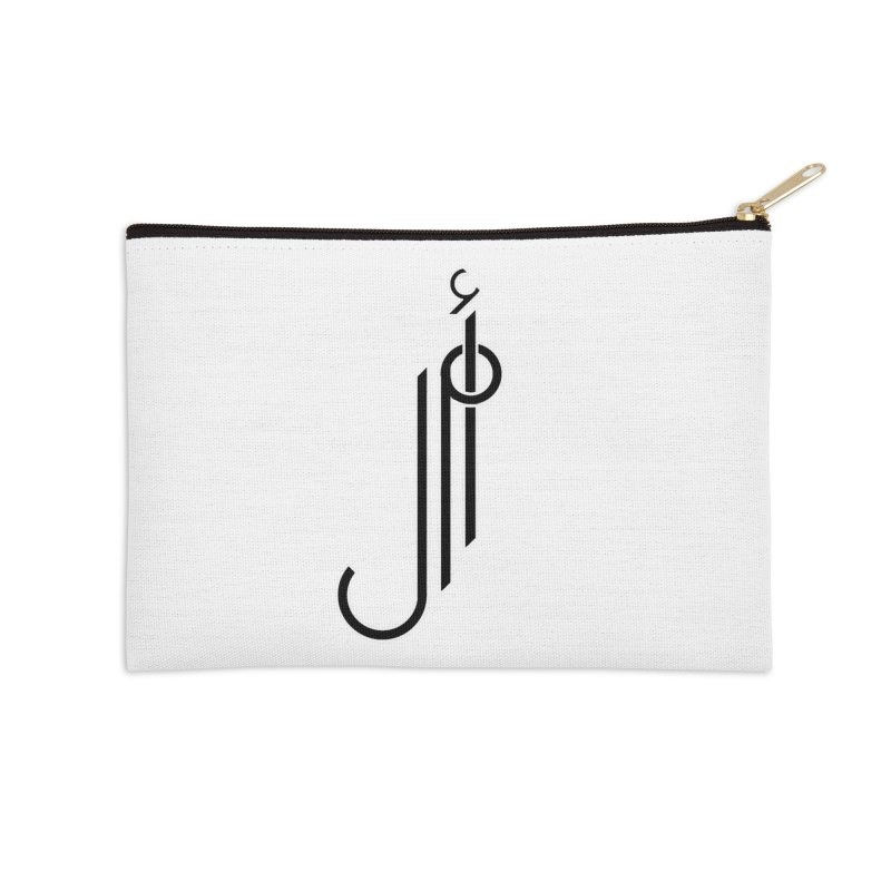 "Amal ""Hope""  Arabic Calligraphy - Black Accessories Zip Pouch by Rocain's Artist Shop"