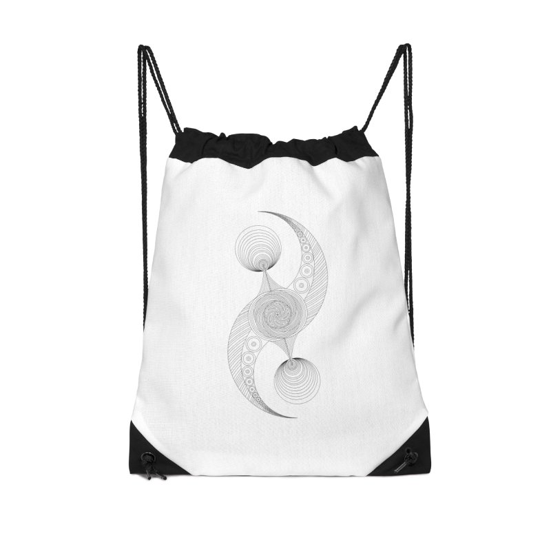 Double Crescent Accessories Drawstring Bag Bag by Rocain's Artist Shop