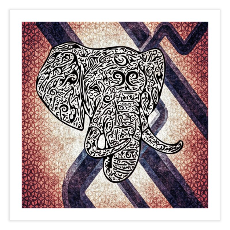Tribal Elephant Home Fine Art Print by Rocain's Artist Shop