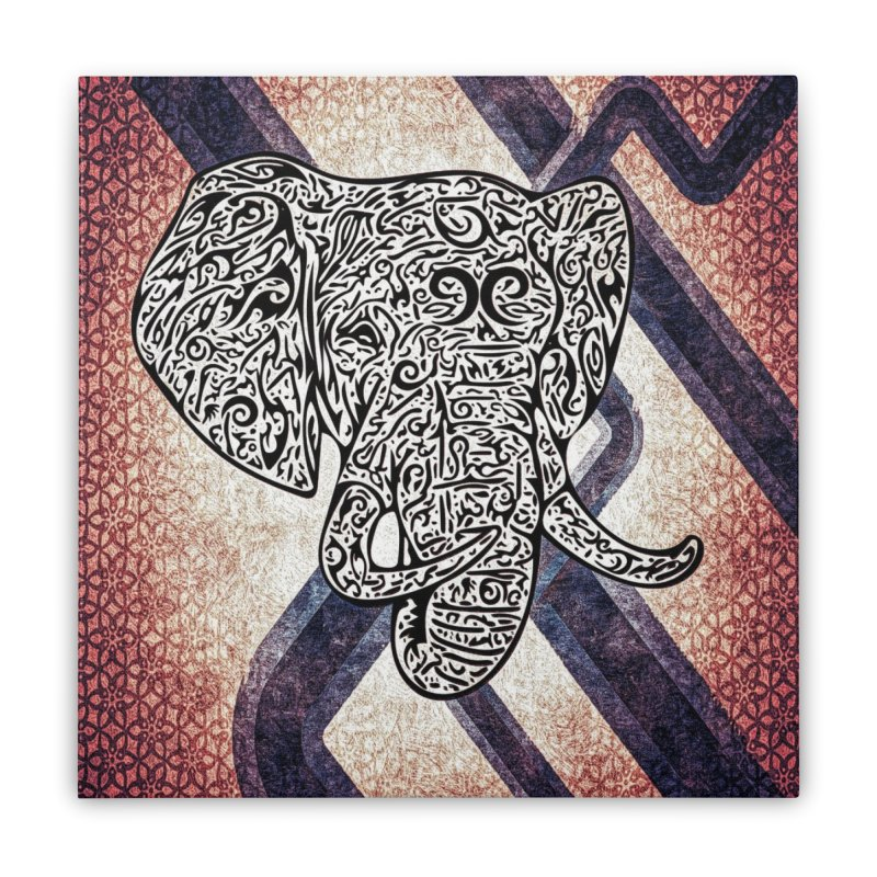 Tribal Elephant Home Stretched Canvas by Rocain's Artist Shop
