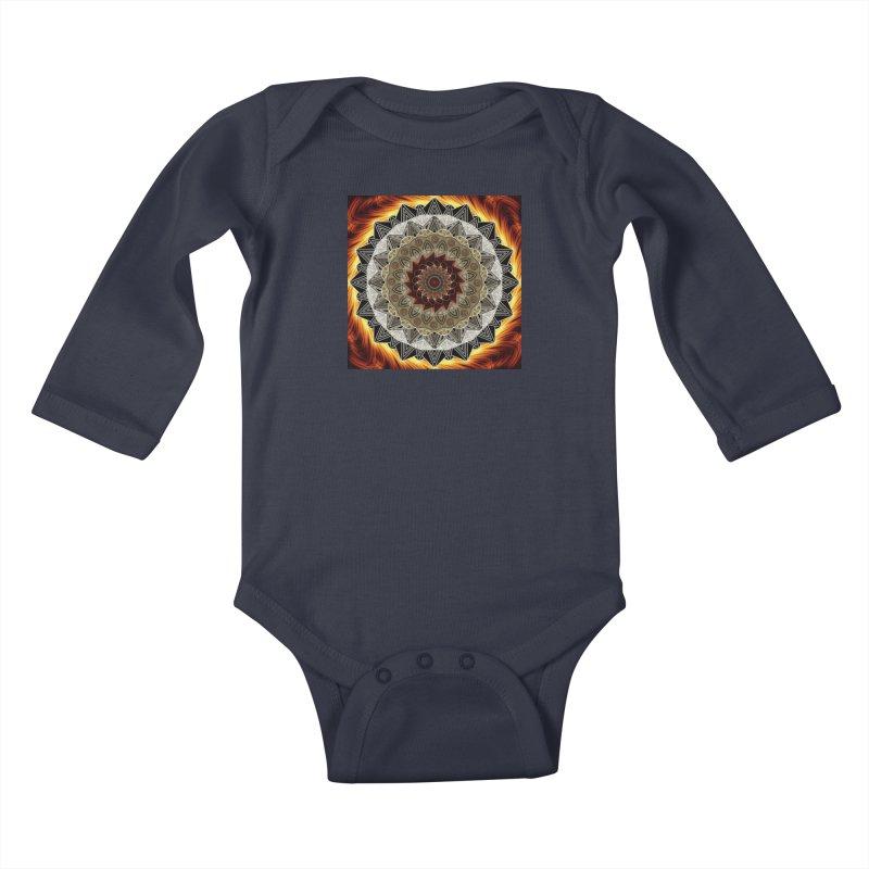 mandala 10-Fire Kids Baby Longsleeve Bodysuit by Rocain's Artist Shop