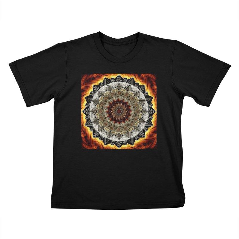 mandala 10-Fire Kids T-Shirt by Rocain's Artist Shop