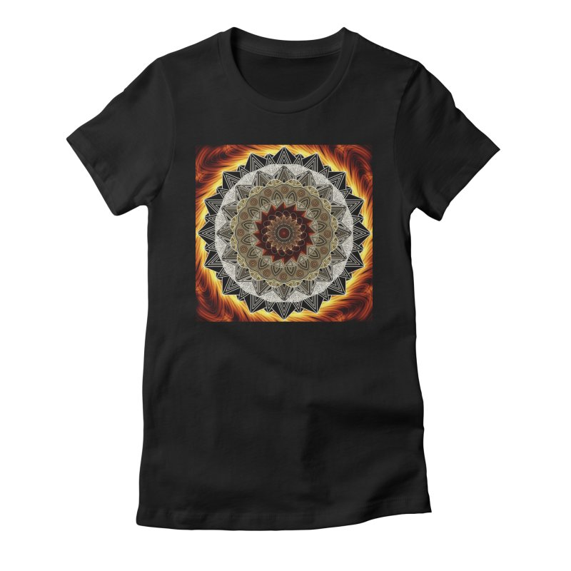 mandala 10-Fire Women's Fitted T-Shirt by Rocain's Artist Shop