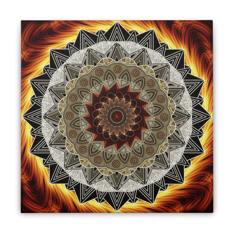 mandala 10-Fire Home Stretched Canvas by Rocain's Artist Shop