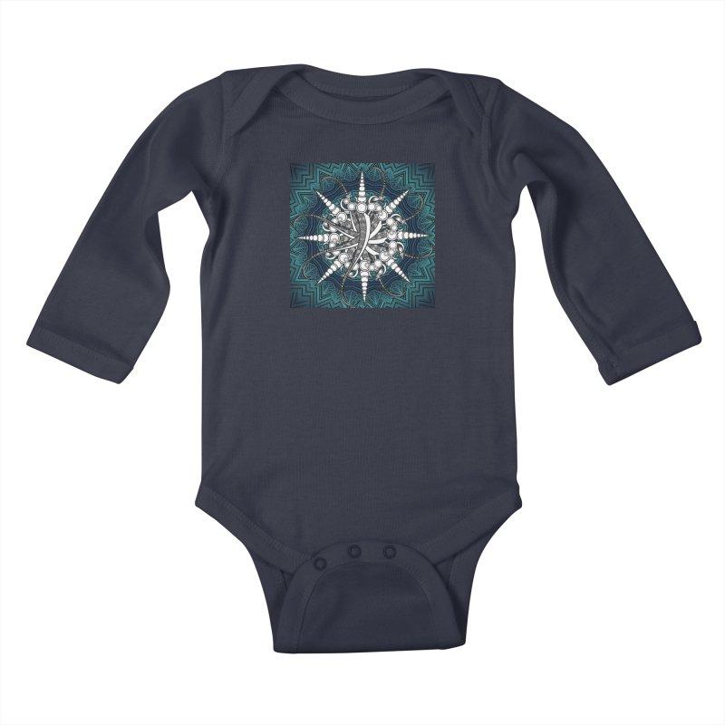 Curved Sword Mandala Kids Baby Longsleeve Bodysuit by Rocain's Artist Shop
