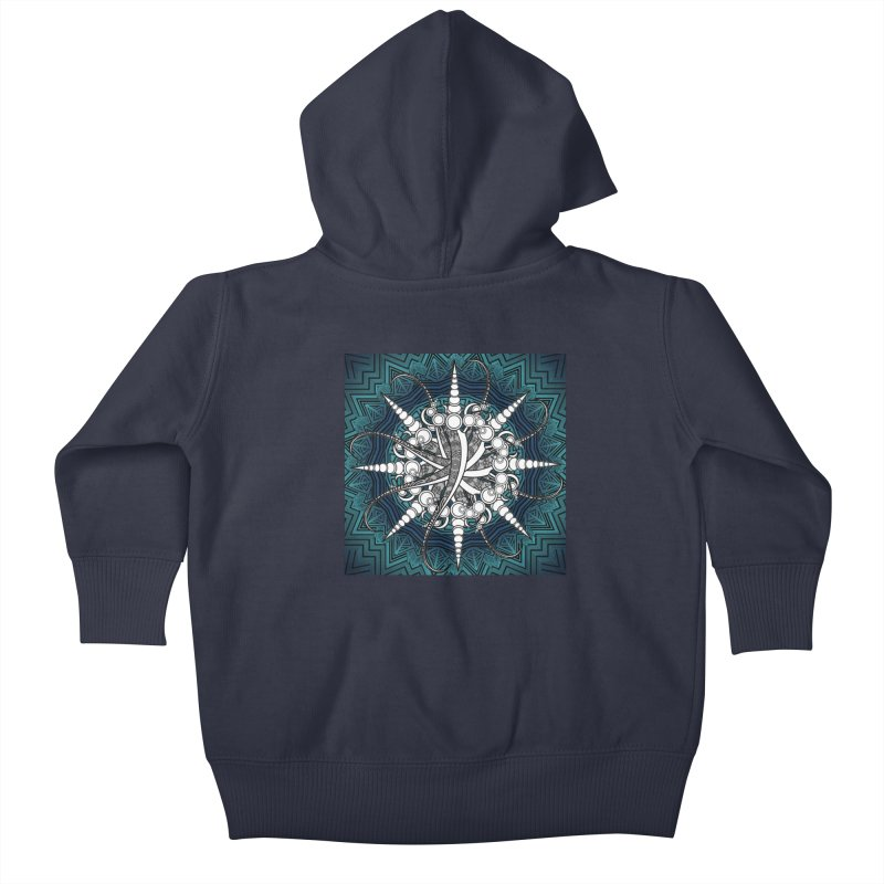 Curved Sword Mandala Kids Baby Zip-Up Hoody by Rocain's Artist Shop