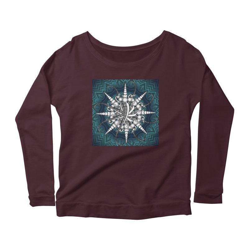 Curved Sword Mandala Women's Scoop Neck Longsleeve T-Shirt by Rocain's Artist Shop