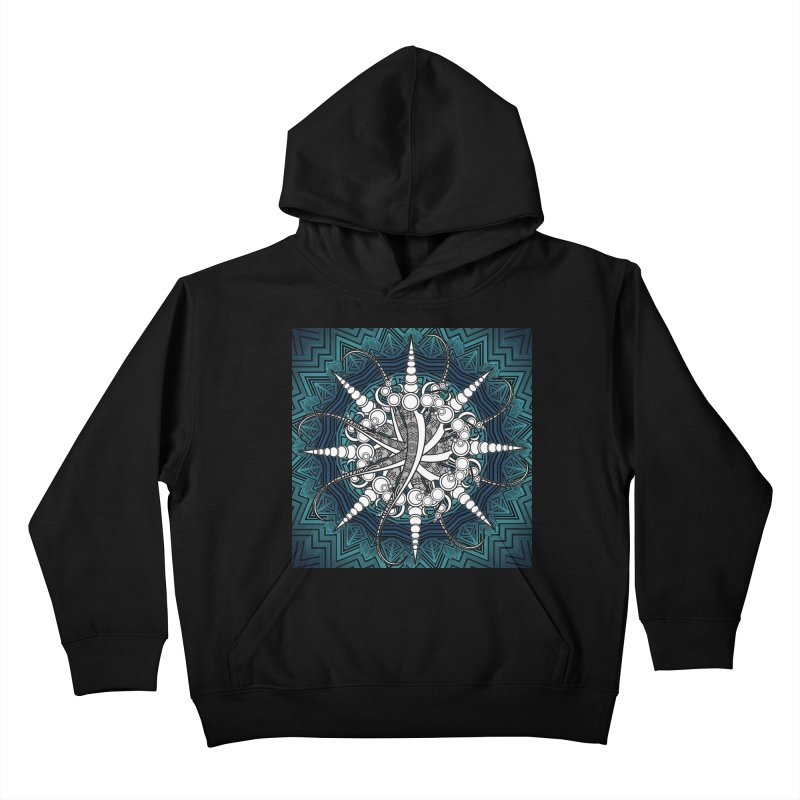 Curved Sword Mandala Kids Pullover Hoody by Rocain's Artist Shop