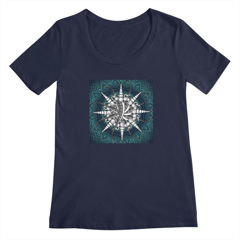 Curved Sword Mandala Women's Regular Scoop Neck by Rocain's Artist Shop