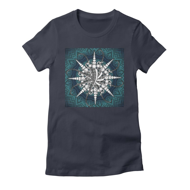 Curved Sword Mandala Women's Fitted T-Shirt by Rocain's Artist Shop