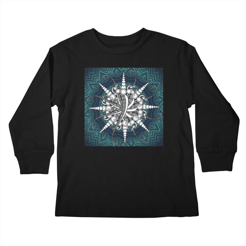 Curved Sword Mandala Kids Longsleeve T-Shirt by Rocain's Artist Shop