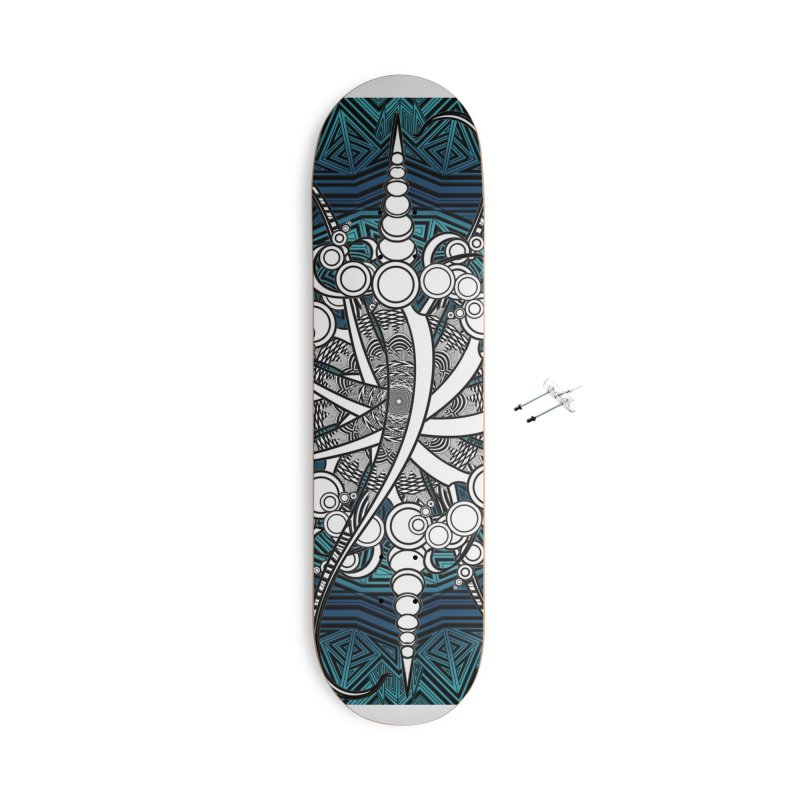 Curved Sword Mandala Accessories Skateboard by Rocain's Artist Shop