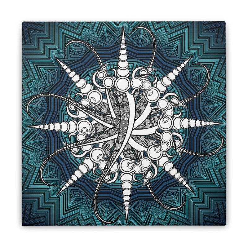 Curved Sword Mandala Home Stretched Canvas by Rocain's Artist Shop