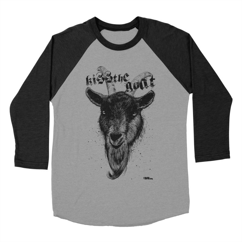 Kiss The Goat in Men's Baseball Triblend Longsleeve T-Shirt Heather Onyx Sleeves by ROCK ARTWORK | T-shirts & apparels