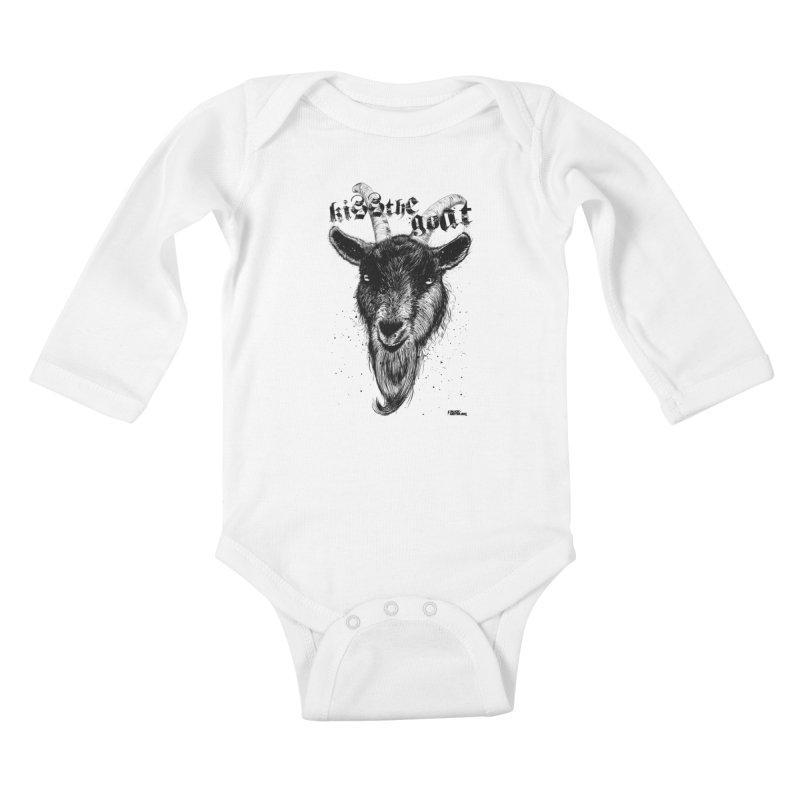 Kiss The Goat Kids Baby Longsleeve Bodysuit by ROCK ARTWORK | T-shirts & apparels