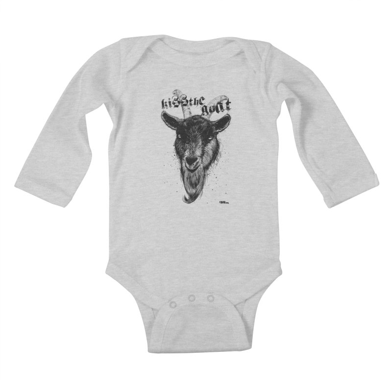 Kiss The Goat Kids Baby Longsleeve Bodysuit by ROCK ARTWORK | T-shirts & apparels