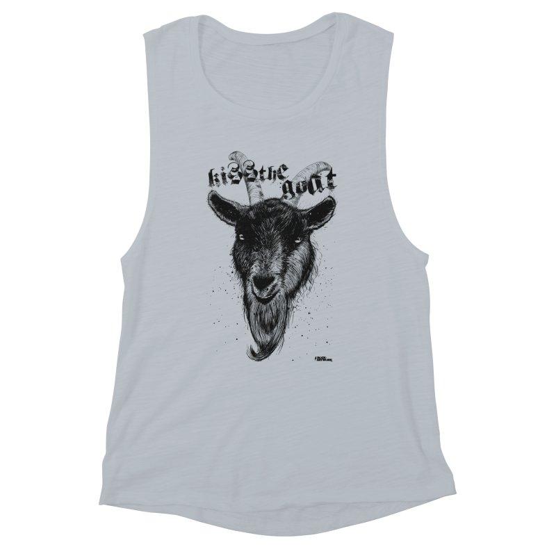 Kiss The Goat Women's Muscle Tank by ROCK ARTWORK   T-shirts & apparels