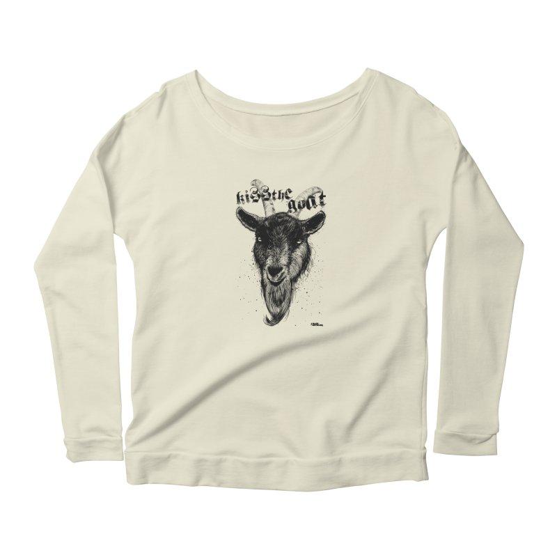 Kiss The Goat Women's Scoop Neck Longsleeve T-Shirt by ROCK ARTWORK | T-shirts & apparels