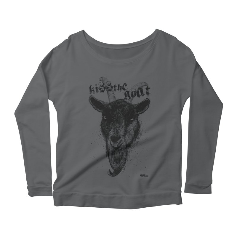 Kiss The Goat Women's Longsleeve Scoopneck  by ROCK ARTWORK | T-shirts & apparels