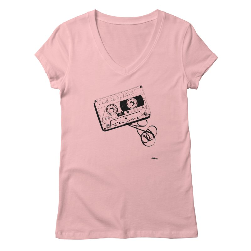 The Love Tape Women's V-Neck by ROCK ARTWORK | T-shirts & apparels