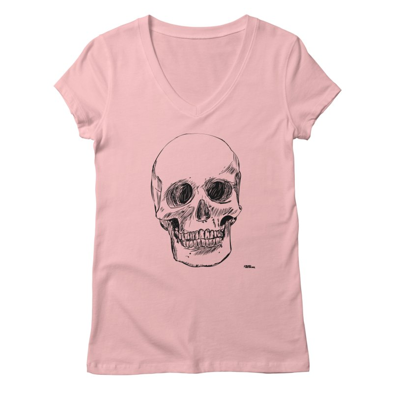 A Simple Skull Women's V-Neck by ROCK ARTWORK   T-shirts & apparels