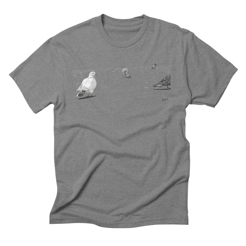 Pigeons parisiens in Men's Triblend T-Shirt Grey Triblend by ROCK ARTWORK | T-shirts & apparels