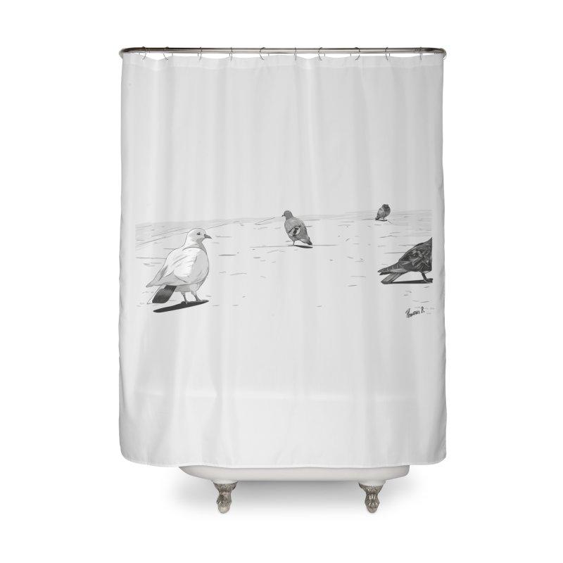 Pigeons parisiens Home Shower Curtain by ROCK ARTWORK | T-shirts & apparels