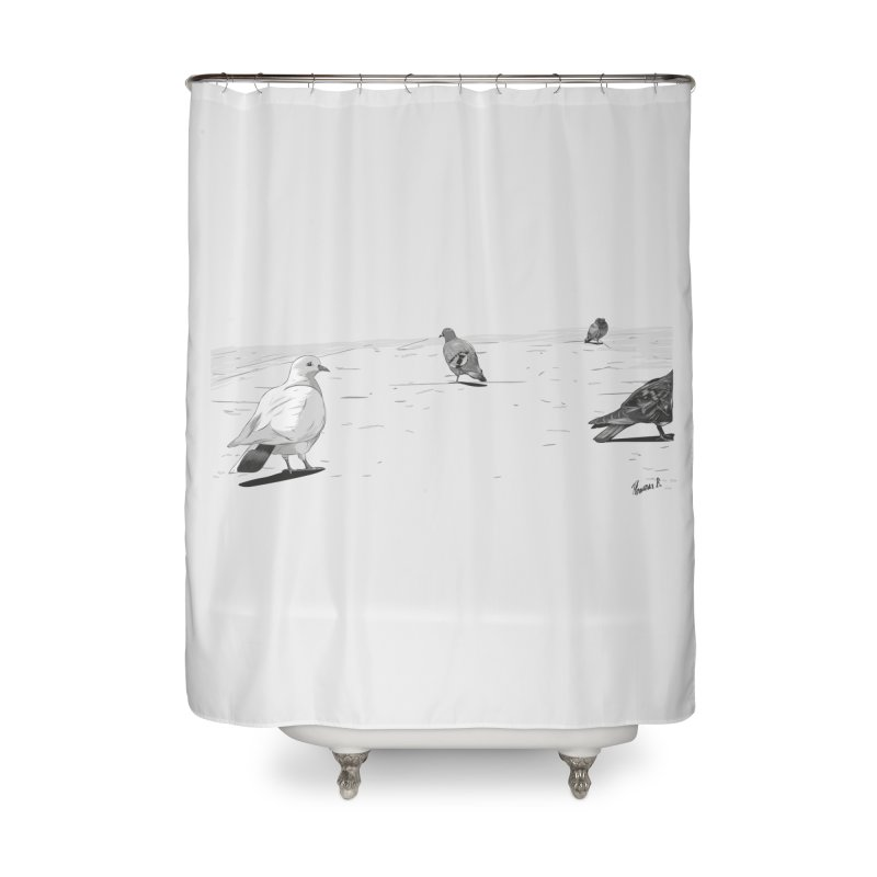 Pigeons parisiens Home Shower Curtain by ROCK ARTWORK | T-shirts & apparels