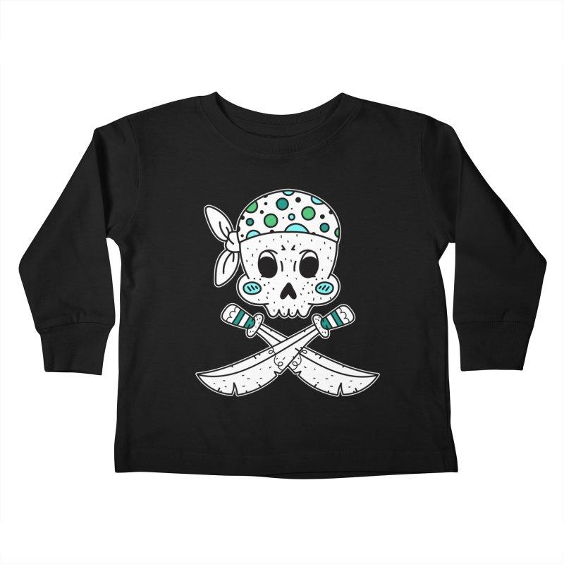 Skull Pirate Kids Toddler Longsleeve T-Shirt by RockerByeDestash Market
