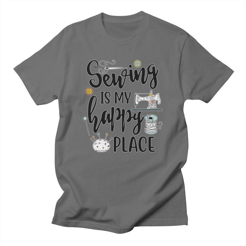 Sewing is my happy place Men's T-Shirt by RockerByeDestash Market
