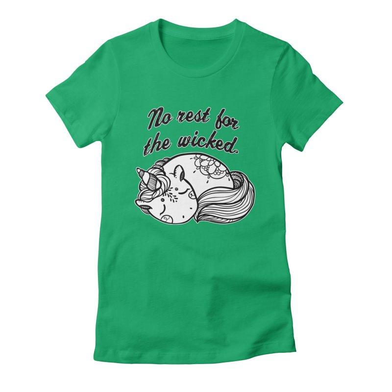 No rest. Women's Fitted T-Shirt by RockerByeDestash Market