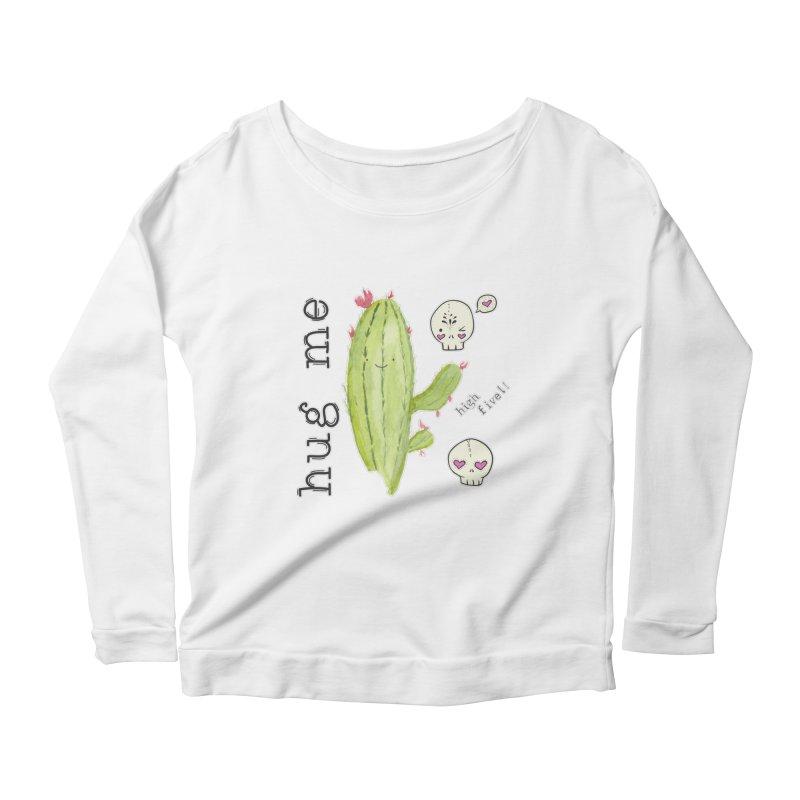 hug me. Women's Scoop Neck Longsleeve T-Shirt by RockerByeDestash Market