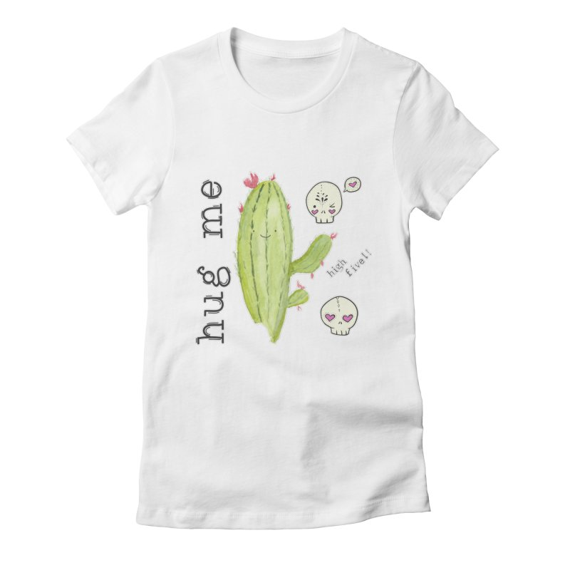 hug me. Women's Fitted T-Shirt by RockerByeDestash Market