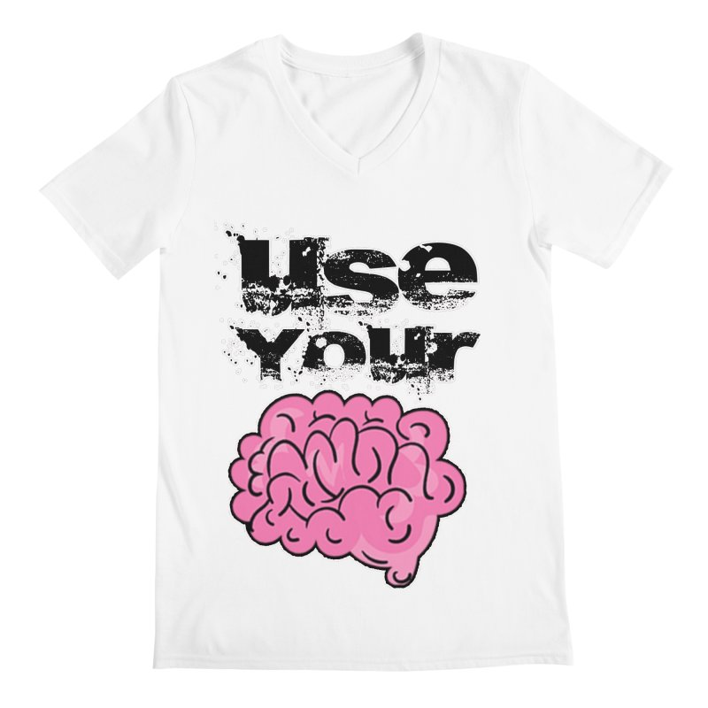 Use Your Brain Men's V-Neck by RockerByeDestash Market