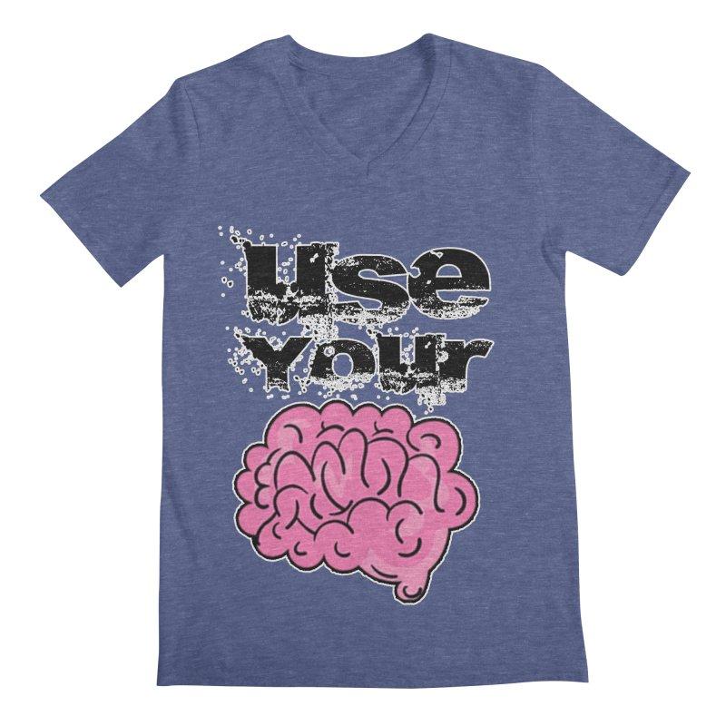Use Your Brain Men's V-Neck by RockerByeDestash Market