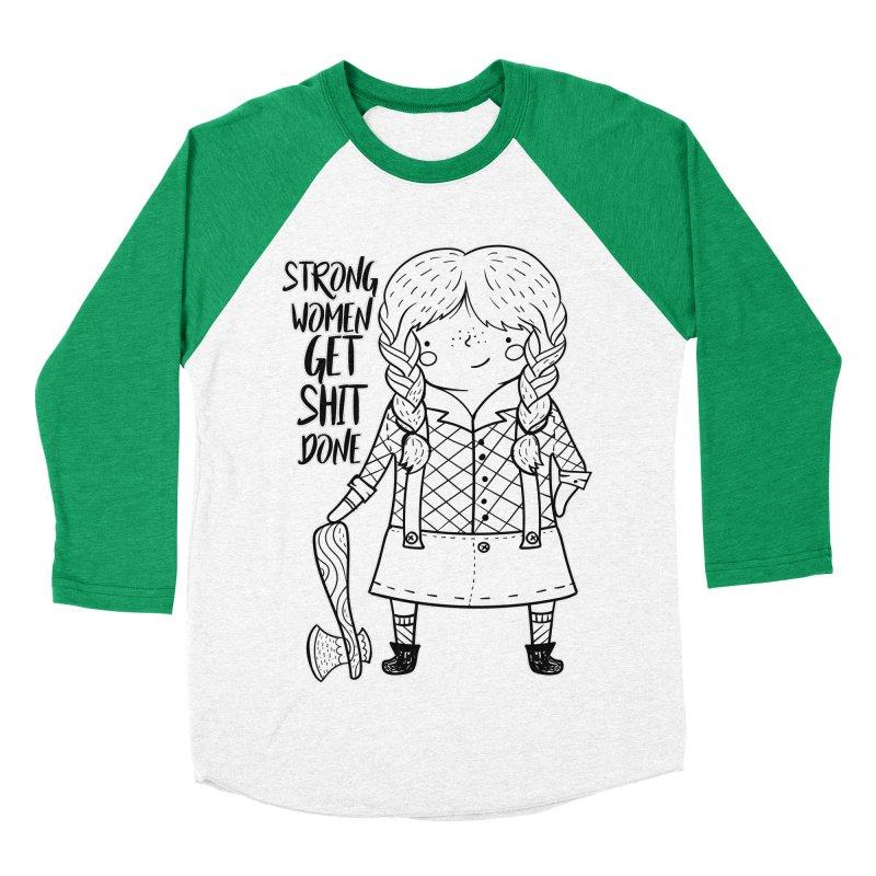 Strong Women Women's Baseball Triblend Longsleeve T-Shirt by RockerByeDestash Market